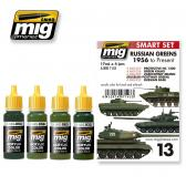 Ammo Mig Jimenez 1956 to Present, Russian Greens, color set 4,17ml.